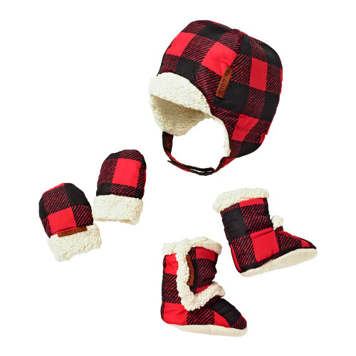 JJ Cole 5-Piece Bomber Hat, Mitten, and Boot Set - Buffalo Check