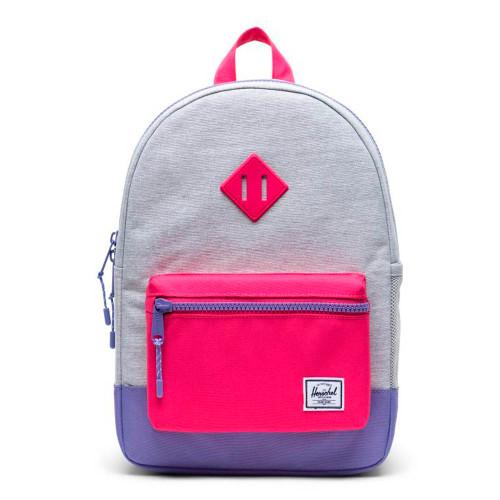 Herschel Heritage Youth Backpack - Light Grey Crosshatch/Raspberry