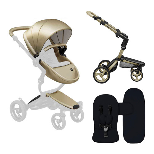 Mima Xari Stroller Combo - Champagne Seat, Champagne Chassis, and Black Starter Pack