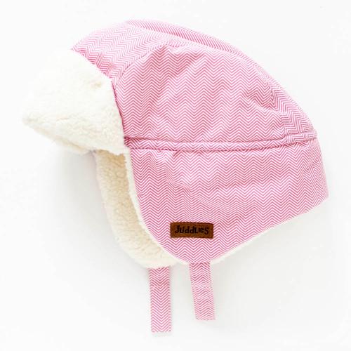 Juddlies Winter Hat - Herringbone Pink (6-12 Months)