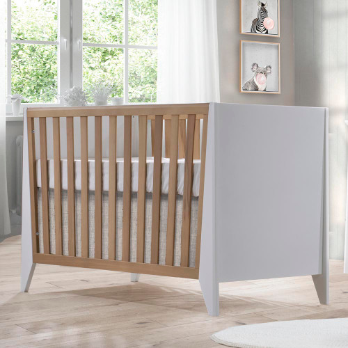 NEST Flexx Classic Crib - White and Natural Wheat
