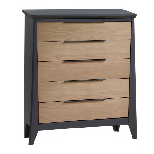 NEST Flexx 5 Drawer Dresser - Graphite and Natural Wheat