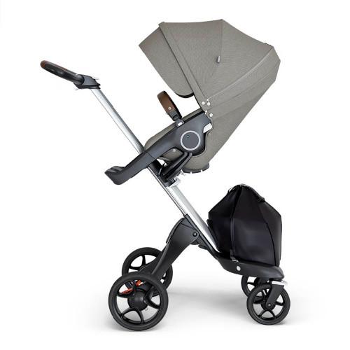 Stokke Xplory V6 Stroller - Brushed Grey with Black Chassis & Black Leather