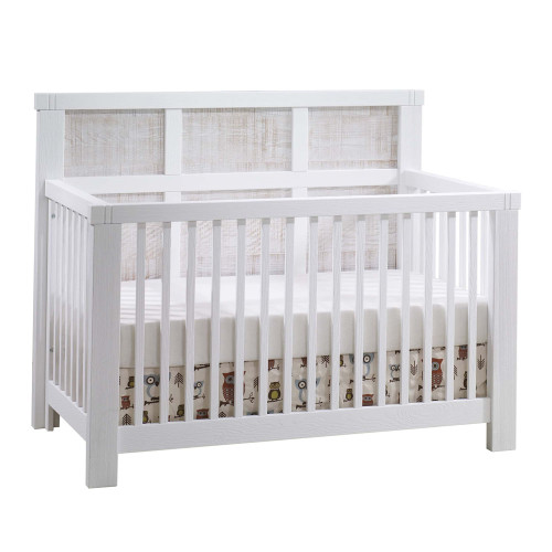 Natart Rustico Moderno 5-in-1 Convertible Crib - White with White Wood Headboard Panels