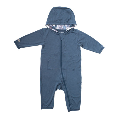Juddlies Camoose Collection Bamboo Jumpsuit - Blue (Small, 3-6 Months)