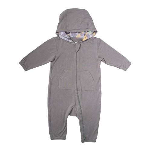 Juddlies Camoose Collection Bamboo Jumpsuit - Grey (Small, 3-6 Months)