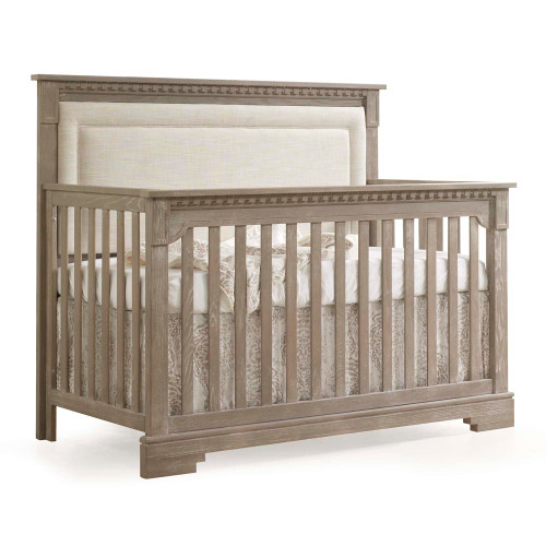 Natart Ithaca 5-in-1 Convertible Crib - Sugar Cane with Talc Linen Weave Headboard Panel