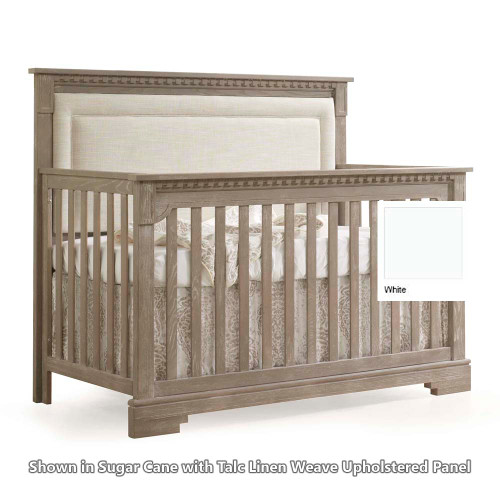 Natart Ithaca 5-in-1 Convertible Crib - White with Talc Linen Weave Headboard Panel