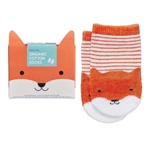 Petit Collage Organic Cotton Baby Socks - Orange Fox