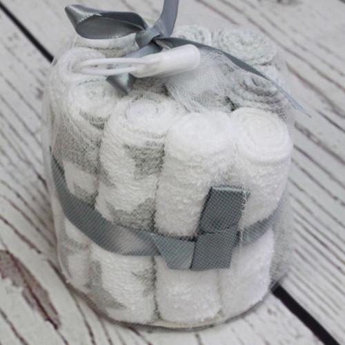 Baby Mode 12-Pack Washcloth Set - Grey Moon & Stars