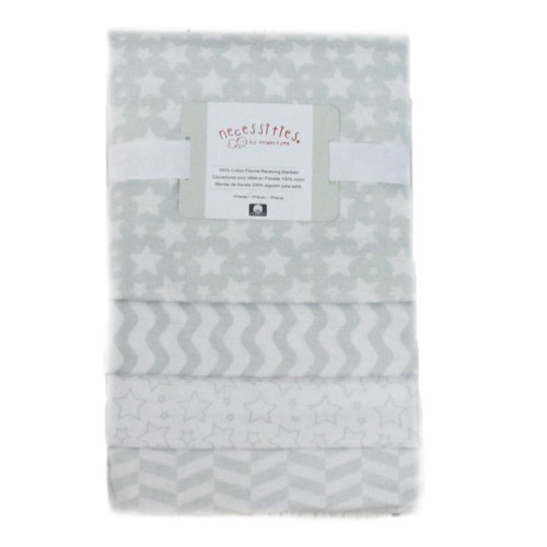Baby Mode 4-Pack Receiving Blankets - Grey Stripes/Stars