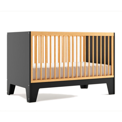 Dutailier Caramel Convertible Crib - Matte Black/Natural