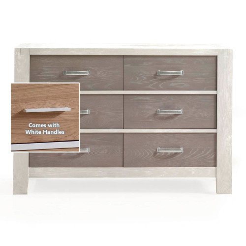 Natart Rustico Moderno Double Dresser - White with Owl Grey Drawers