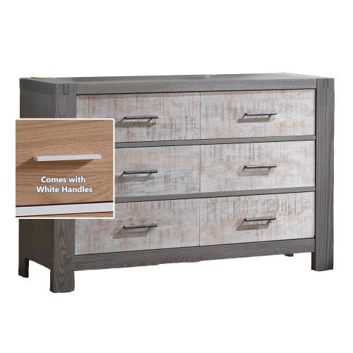 Natart Rustico Moderno Double Dresser - Grigio with White Bark Drawers