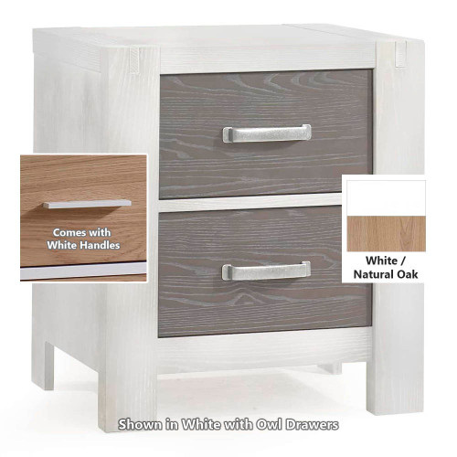 Natart Rustico Moderno Nightstand - White with Natural Oak Drawers