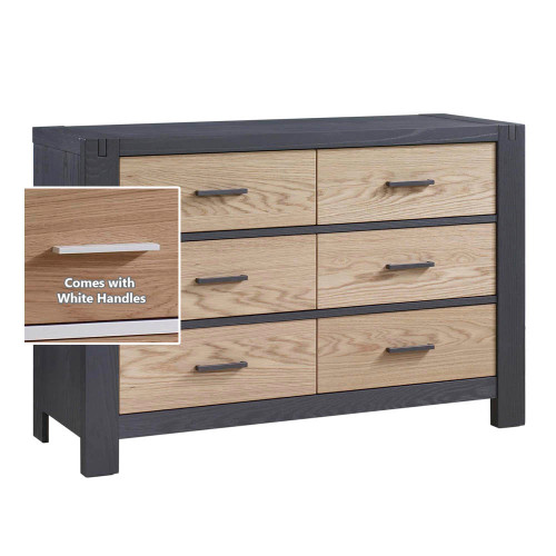 Natart Rustico Moderno Double Dresser - Graphite with Natural Oak Drawers