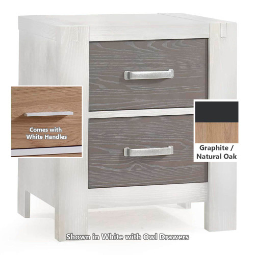 Natart Rustico Moderno Nightstand - Graphite with Natural Oak Drawers