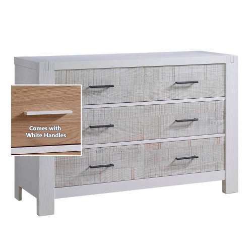 Natart Rustico Moderno Double Dresser - White with White Drawers