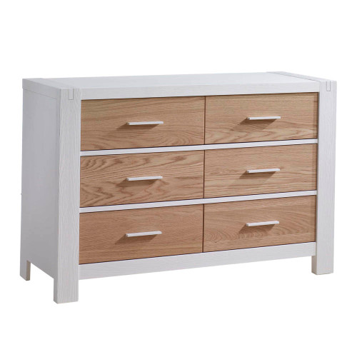 Natart Rustico Moderno Double Dresser - White with Natural Oak Drawers