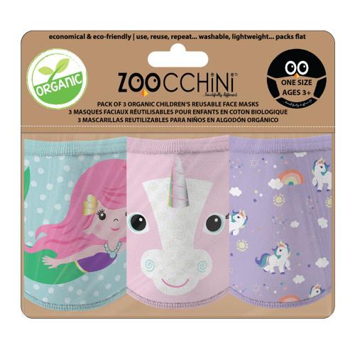 Zoocchini 3-Pack Organic Reusable Kids Masks - Unicorn (3 Years+)