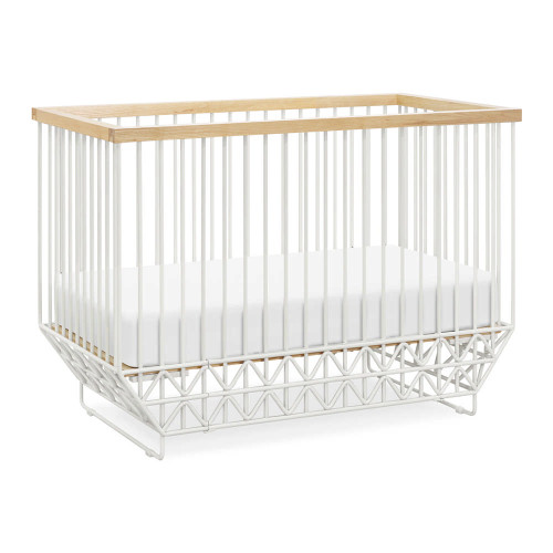 Ubabub Mod 2-in-1 Convertible Crib with Toddler Bed Conversion Kit - Warm White and Natural