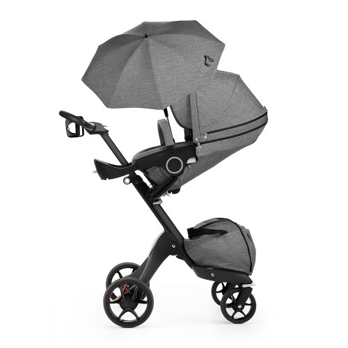 Stokke Xplory V5 Baby Pram 3-in-1 with Parasol and Cup Holder - Grey Melange with Black Chassis