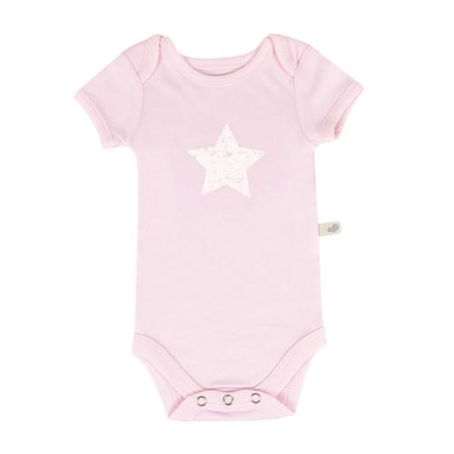 Perlimpinpin Bamboo Short Sleeve Onesie - Rose Star 3 Months