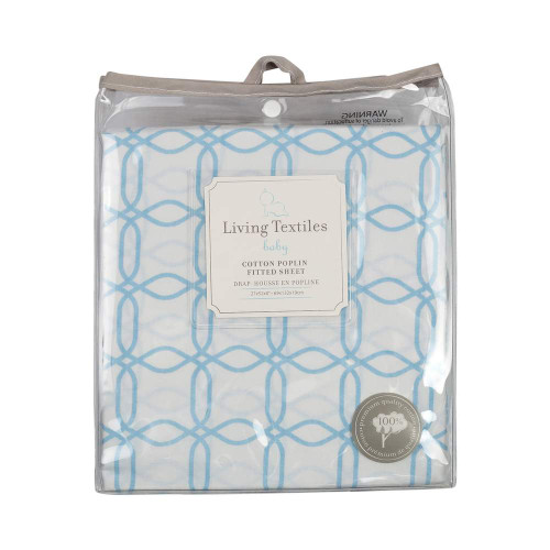Living Textiles Baby Cotton Poplin Fitted Sheet - Blue Links