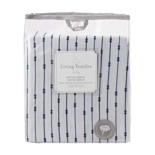 Living Textiles Baby Jersey Fitted Sheet - Navy Beads