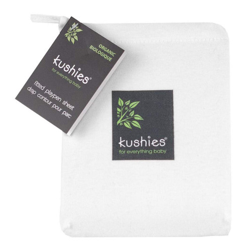 Kushies Organic Jersey Fitted Crib Sheet - White