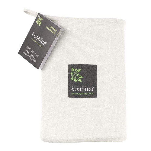 Kushies Organic Jersey Fitted Crib Sheet - Ecru
