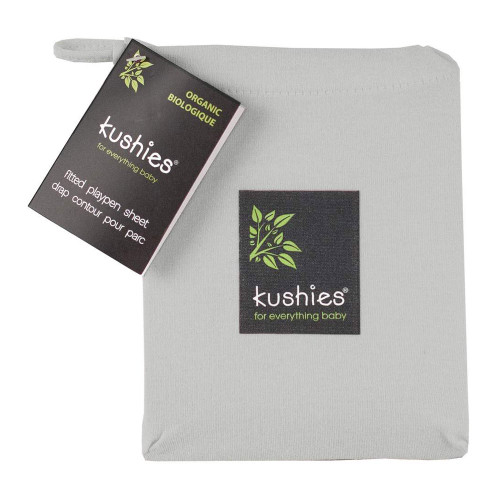Kushies Organic Jersey Playpen Fitted Sheet - Grey