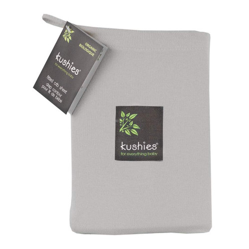 Kushies Organic Jersey Fitted Crib Sheet - Grey