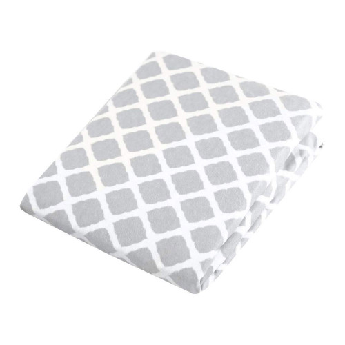 Kushies Flannel Fitted Change Pad Sheet with Slits - Grey Lattice