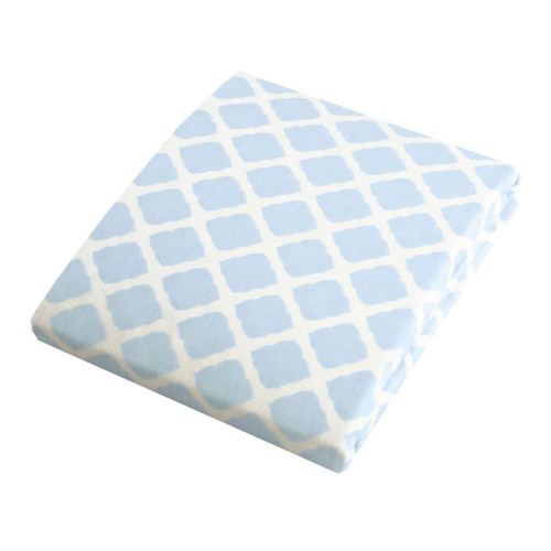 Kushies Flannel Fitted Change Pad Sheet with Slits - Blue Lattice
