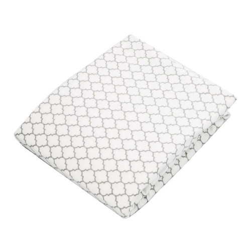 Kushies Flannel Fitted Change Pad Sheet with Slits - Grey Ornament