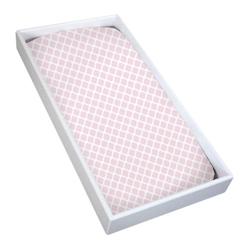 Kushies Flannel Fitted Change Pad Sheet - Pink Lattice