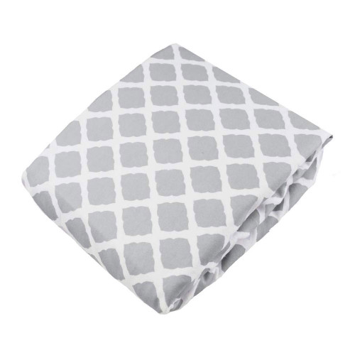Kushies Flannel Fitted Crib Sheet - Lattice Grey