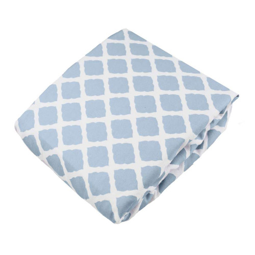 Kushies Flannel Fitted Crib Sheet - Lattice Blue