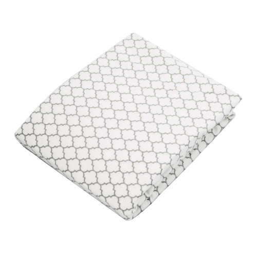Kushies Flannel Fitted Crib Sheet - Grey Ornament