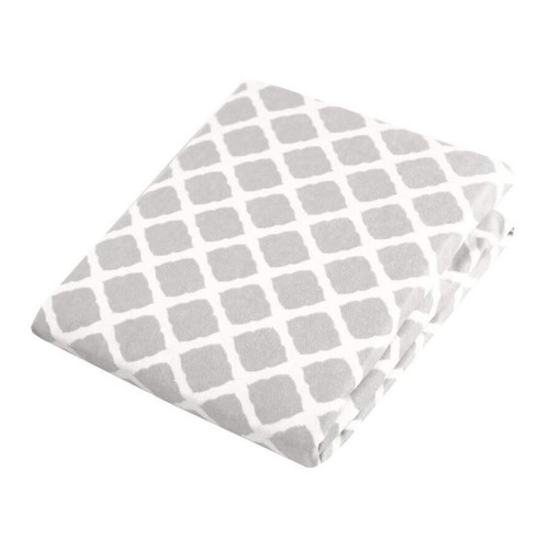 Kushies Flannel Playpen Fitted Sheet - Grey Lattice