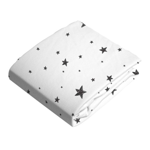 Kushies Flannel Fitted Change Pad Sheet with Slits - Scribble Stars Black n White