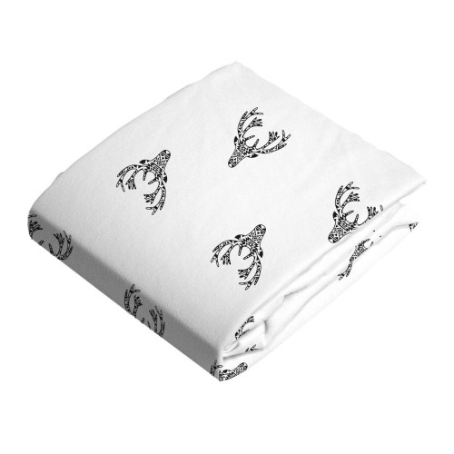 Kushies Flannel Fitted Change Pad Sheet with Slits - Deer Black n White