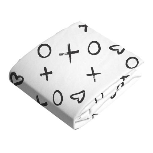 Kushies Flannel Fitted Crib Sheet - XO Black n White