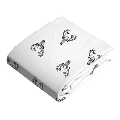 Kushies Flannel Pack N Play Sheet - Deer Black n White
