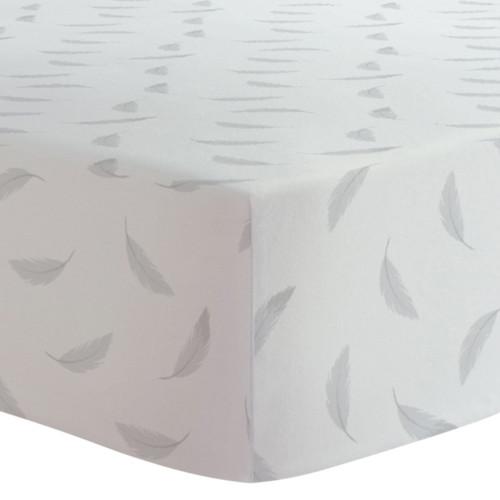 Kushies Flannel Crib Sheet - Grey Feathers