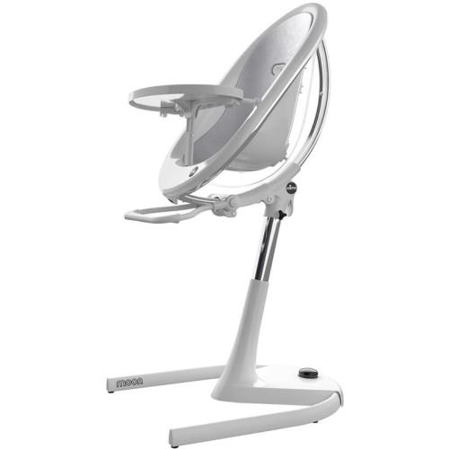 Mima Moon High Chair - White Frame with Silver Cushion