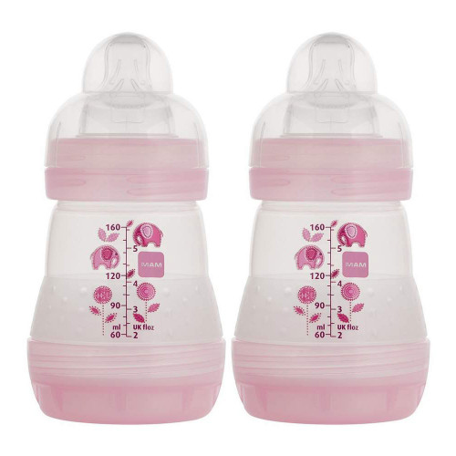 MAM Anti-Colic Bottles, 5oz - 2 Pack, Boy