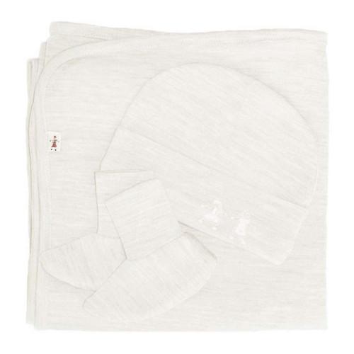 Merino Cocooi Blanket, Bootie, & Hat Set - Cream (0-3 Months)
