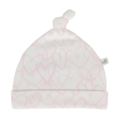 Perlimpinpin  Bamboo Knotted Hat 6-9 Months - Hearts Print